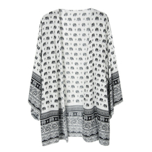 plus size women's bohemian blouse print Elephant vintage kimono cardigan summer beach cover cape tops shirts chiffon Embroidered(China)
