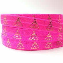 "New Arrival 5/8"" Teepee Print Neon Pink Fold Over Elastic Gold Foil FOE Ribbon for DIY Headwear Hair Accessory 10 yards/lot(China)"