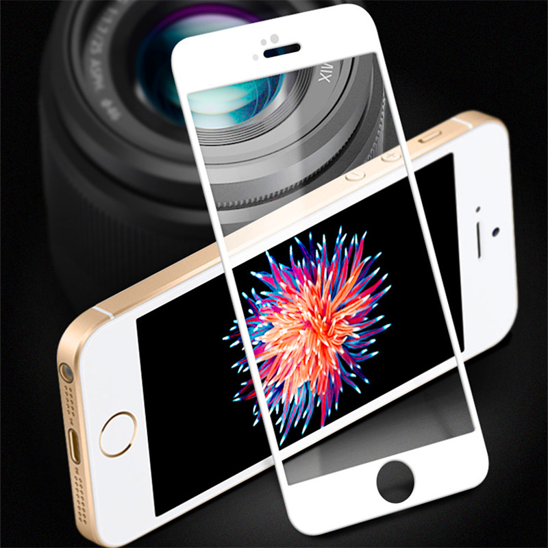 Full Cover Tempered Glass for iphone 5 5C screen protector for iphone 5s se white