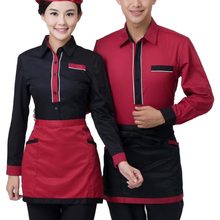 Popular Sale Restaurant Waiter Waitress Uniforms Long Sleeve Chef Jacket Kitchen Hotel Uniform Cook Clothing + Apron