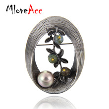 MloveAcc Vintage Style Oval Shape Imitation Pearl Brooch Stones Twig Brooches & Pins Christmas Gifts for Women Lady Jewelry(China)