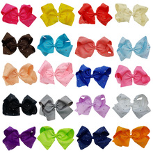 "laest JOJO 20CM big twist bowknot hair clip with diamond dot girl 8""large bowknot hair clip 10ps/lot hair accessories(China)"