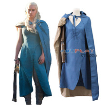 Game of Thrones cosplay Daenerys Targaryen cosplay costume blue dress + cloak any size can Custom made Halloween stage costumes