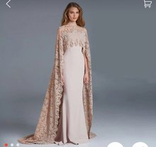 Designer Mermaid Celebrity Dress Up With Cape Wrap Long  2017 New High Neck Inspired Lace Red Carpet Dresses Formal Evening Gown