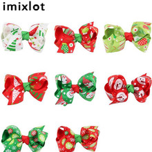 IMIXLOT Girls Hairs Bows With Clips Infant Ribbon Bow Hair Clip Children Kids Hairwear Handmade Head Accessories For Christmas