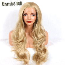 Bombshell Hot Honey Blonde Body Wave Synthetic Lace Front Wig High Temperature Heat Resistant Free Parting For Black White Women(China)