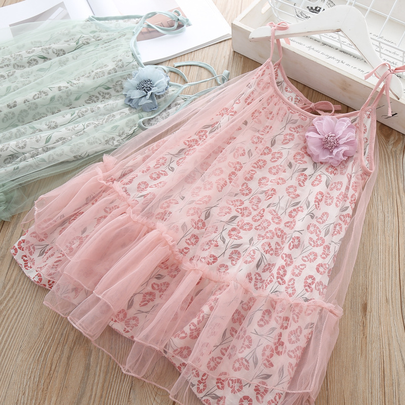 girl cotton tulle dresses 2019 summer kids beach dress sweet girls holiday dresses fashion Children belle clothes