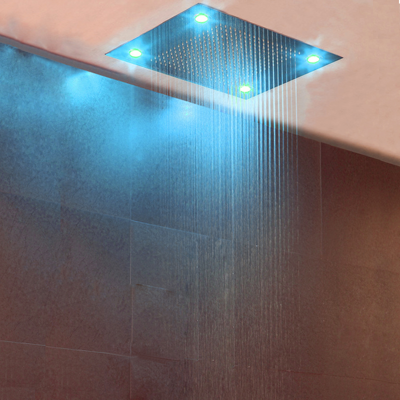 Bathroom Accessorise Shower Head Ceiling LED Light Big Rainfall Bath Shower Panel Faucet Polished 304 Stainless Steel Top Enjoy 2
