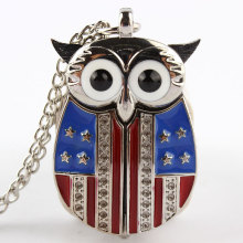 Owl Pocket Watch Wings Star and Stripe US Flag Design Necklace Pendant Women Dress Small Size Stainless Steel Fashion