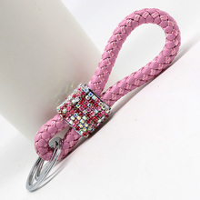 high quality Leather key chain posted Rhinestone Key hangers for Car keys keychains lanyard for Man women charm Accessories