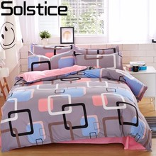 Solstice Home Textile Autumn Dark-color Flower Series Bed Linens 4pcs Bedding Sets Bed Set Duvet Cover Bed Sheet Mans Cover Set(China)