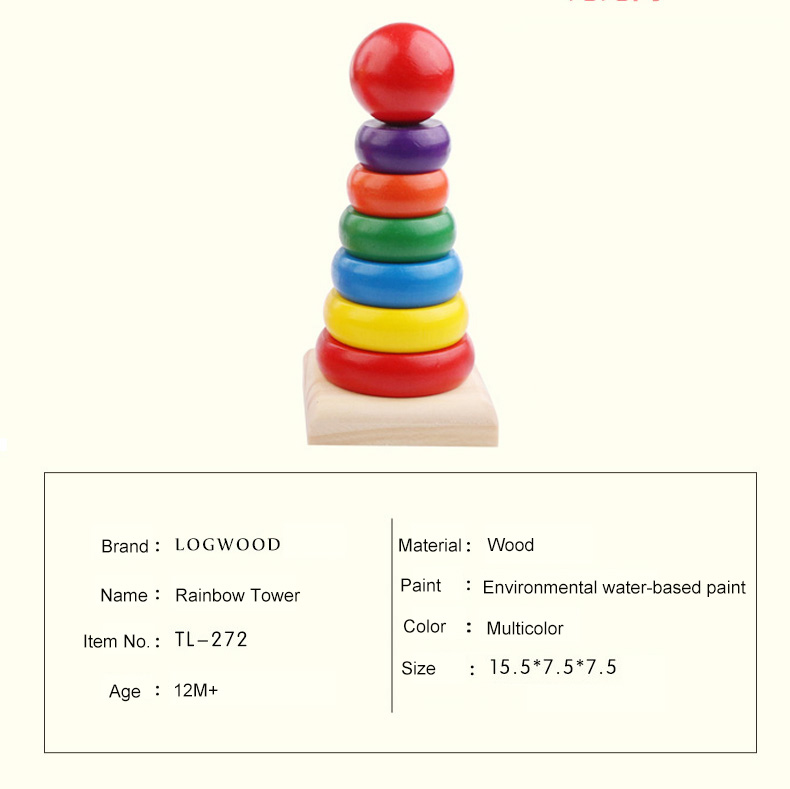 Children Baby wooden toys Rainbow Tower blocks baby's Educational early learning toy model building kits multicolour kids game 1