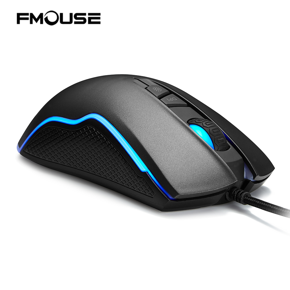 FMOUSE F500 Backlit Wired 4000DPI Gaming Mouse Optical Ergonomic Gaming Mice 7 Buttons LED PC/Laptop/Desktop/Computer
