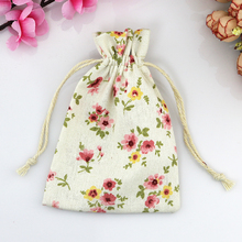 50pcs Small Drawstring Cotton Bag for Gift Sachet Grocery Storage Pouch Cute Craft Packaging Bags 10*14cm Daisy Pattern(China)