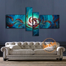 4pcs Hand Painted Abstract Oil Painting on Canvas Modern Wall Art Blue Abstract Artwork for Living Room Home Decoration No Frame