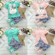 2017 Adorable Baby Kids Boy Girl Clothes Rabbit Bunny Tops T-shirt And Pants 2PCS
