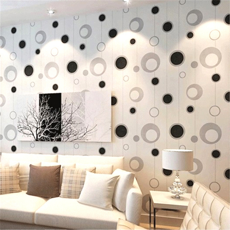 beibehang of wall paper PVC Modern Simple Wallpaper Background papel de parede Wall Paper Roll Circle Pattern papel pared<br>