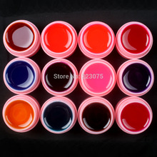 Hot DIY Professional 12 Pcs Mix Colors Glass UV Builder Gel Acrylic Set for Nail Art Tips New white pot Set(China)