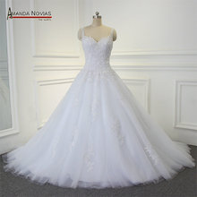 Straps Sweetheart Neckline Lace Appliques A-line Bridal Wedding Gown Dress(China)