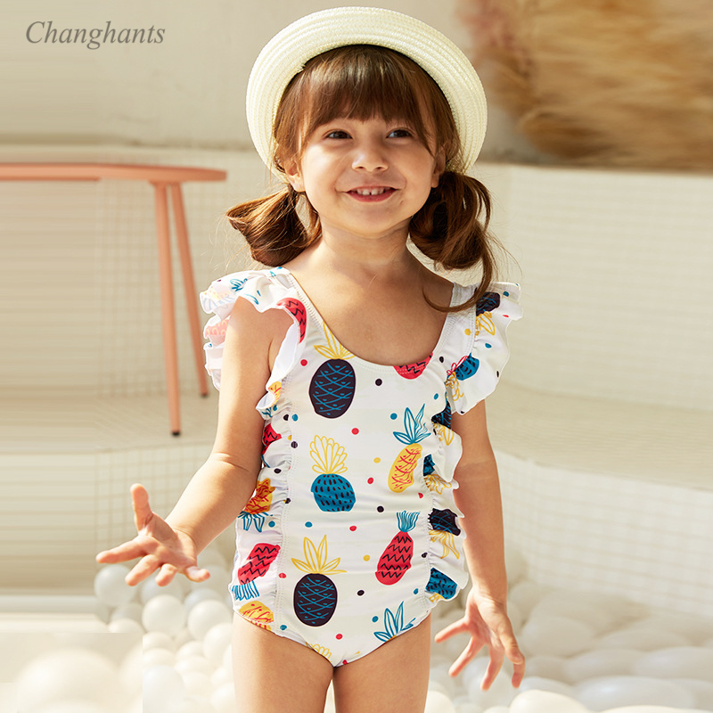 Bathing Suits with Hat for Kids Toddler Girls One Piece Swimsuits Long-Sleeve Cute Rabbit Ruffles Swimwear Rash Guard UPF 50