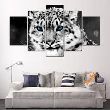 5 Panel Canvas Art Picture Black and White Painting Beautiful Blue Eyes Leopard Bedroom Decoration Framed Ready to hang