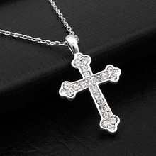 DCM Free Shipping Wholesale Crystal Cross Shape Necklace Austrian Crystal Fashion Necklace for women Gift