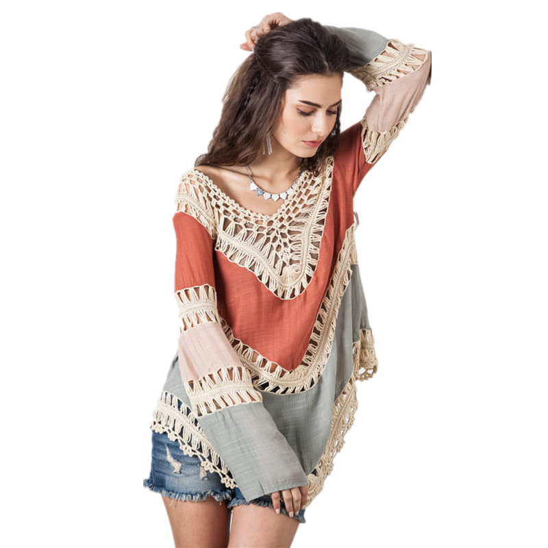 Bkning Red Patchwork 17 Pareo Beach Cover Up Women Sexy Beach Bathing Suits V Neck Cotton Cover-Ups Free Size Swim Wear B358 6