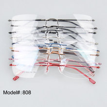 808 - 10PCS each lot Unisex rimless eyewear hinged memory titanium free shipping metal optical frames spectacles eyewear