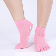 Exercise Sock Women Printed Colorful Letter Dot Socks Aptitud Cotton Exercise Non Slip Massage Toe Pure Color Dance Sock WA011(China)