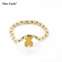Women's Round Pearls Strand Bracelet with Stainless Steel Gold Teddy Bear Lovely Jewelry for Girls Kids Baby with free gift bag