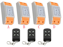 AC220V 1CH Wireless Remote Control System 3 transmitter & 4 receiver universal gate remote control /radio receiver lamp/ window(China)