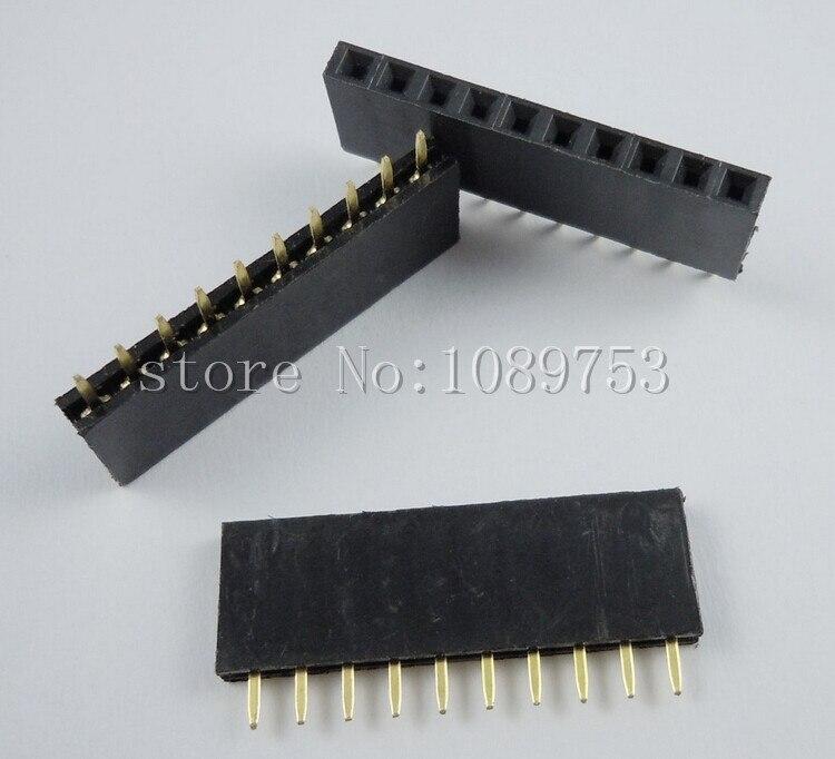 500PCS 10Pin 2.54mm Single Row Straight Female Pin Header 10P Strip PBC<br>