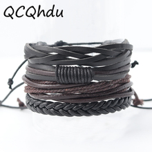 Buy 4PCS Bracelets Bangles Mens Jewelry Charm Lovers Casual Hand Woven Multi Layer Leather Bracelets Pulseiras for $1.49 in AliExpress store