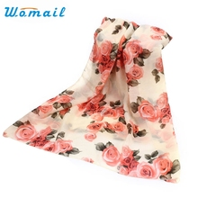 Womail Newly Design Women Fashion Rose Flower Chiffon Scarf Long Shawl Wraps  Aug13 Drop Shipping