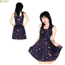 PACMAN Game Print One-Piece Bodycon Women Tennis Dress Saias Retro PAC-MAN PATTERNS Sundress Reversible Skater Dress Harajuku