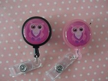 Cute Pink Owl - Lanyard Retractable Reel Badge ID Card Holder(China)