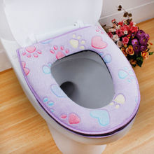2018 HOT New Soft sanitary luxuriousThicken Soft Toilet Seat Cover Warm Bathroom Mat Set Toilet Zipper Cushion(China)