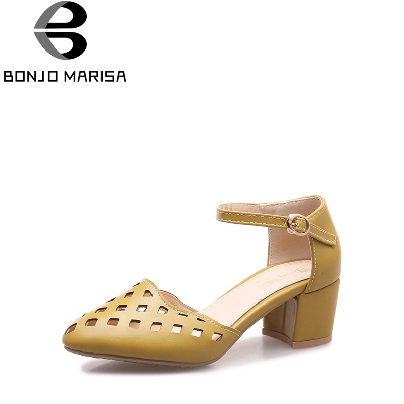 BONJOMARISA 2018 Summer New Brand Hollow Fretwork Sandals Plus Size 32-46 Med Heels Shoes Woman Comfortable Casual Shoes Women<br>
