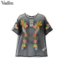 Vadim sexy see through floral embroidery mesh shirts black transparent oversized blouse casual loose tops blusas DT1042