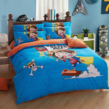 Hot Anime One Piece Bedding Set/Boys Luffy Duvet Cover/Bed Sheet/Pillowcase/Chopper Beddings/Cartoon Twin Queen Home Textile(China)