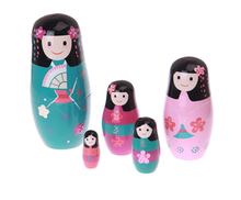 New Quality 5 Pieces Of Sweet Girls Beautiful Wooden Russian Nesting Dolls for Kids' Gifts Toy(China)