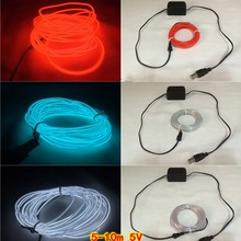 6m/8m/10m USB EL wire Dance Party Decor Light Neon LED lamp Flexible EL Wire Rope Tape Waterproof LED Strip With inverter 5V