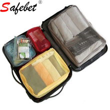 Woman Travel Luggage Storage Bag 4 PCS / Set Wardrobe Clothes Organizer Packing Cubes Bag Ziplock Pouch(China)
