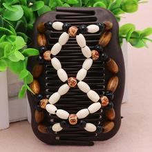 Random Best Easy Magic Wood Beads Double Hair Comb Clip Stretchy Hairpin Women Vintage Headwear Accessories