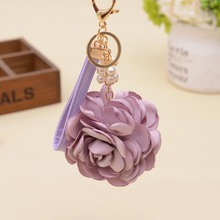 Leather strap Rose Flowers Keychain Bag Pendant Car Ornaments Charm For Women Key Chain Buckle Key Ring Porte Clef EH-590