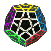 3x3x3 Carbon Fiber Sticker Megaminx Brain Teaser Magic Cube Puzzle Toy