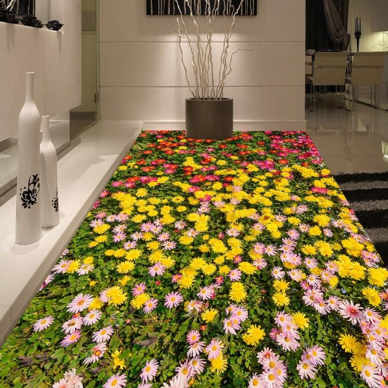 Free shipping custom flowers flooring living room bathroom moisture proof self-adhesive home decoration 3d wallpaper floor<br>