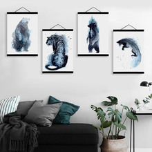 Modern Watercolor Wild Animal Tiger Bear Fox Wooden Framed Canvas Paintin Nordic Home Decor Wall Art Print Picture Poster Scroll(China)