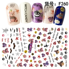 5 sheets Thin adhesive Halloween decals Nail Art decorations Stickers acrylic nails accessoires supplies tools F256-260(China)