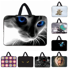 Blue Eyes Cat Notebook Laptop Neoprene Cases Handle Bags Cover 10 12 13.3 14 15.6 16 17 Inch Mini PC Tablet 10.1 11.6 Shell Bag(China)